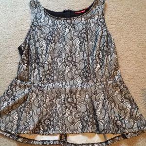 Black lace peplum shirt
